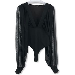Pretty Little Things Size 8 Black Bodysuit